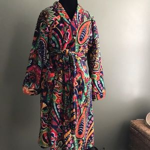 Vera Bradley plush fleece paisley bath robe S/M
